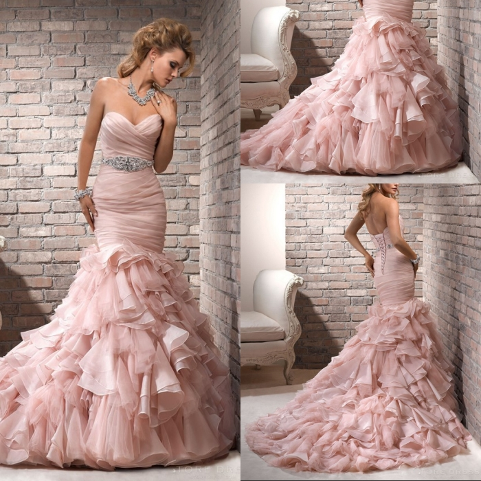 Custom Made 2015 New Arrival Strapless Mermaid Wedding Dress Sexy Sweetheart Wedding Gown Organza Ruffle Bridal Dress