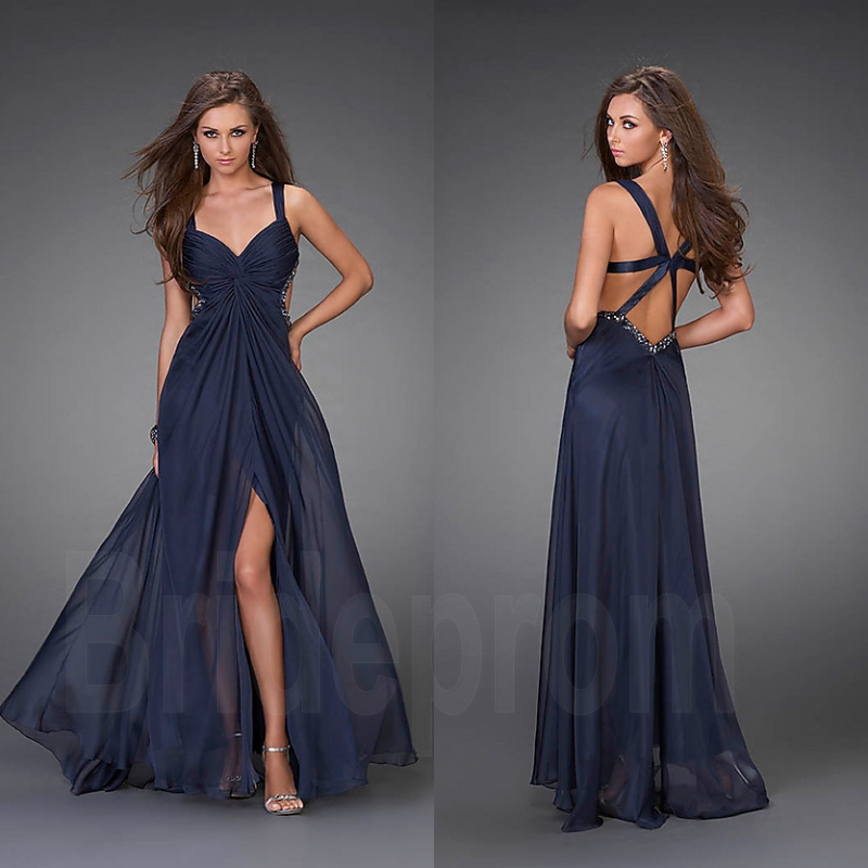 Straps Navy Blue V-neck Backless Prom Dresses Chiffon Party Evening Dress  Custom Size 2 4 6 8 10 12 14 16 & Plus Size