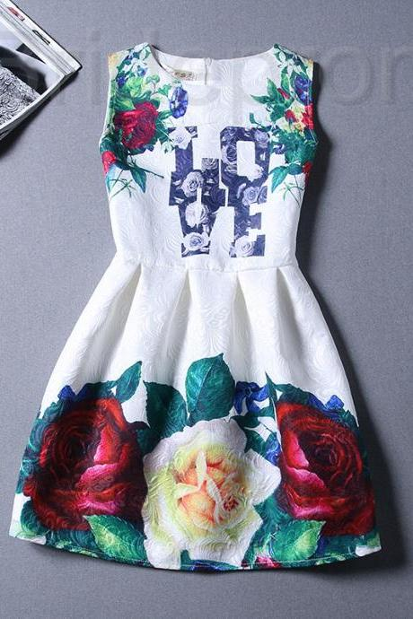 Short Retro Printing Patterns Women's Clothing Sleeveless Casual Dress YHD4-12 Size S M L XL