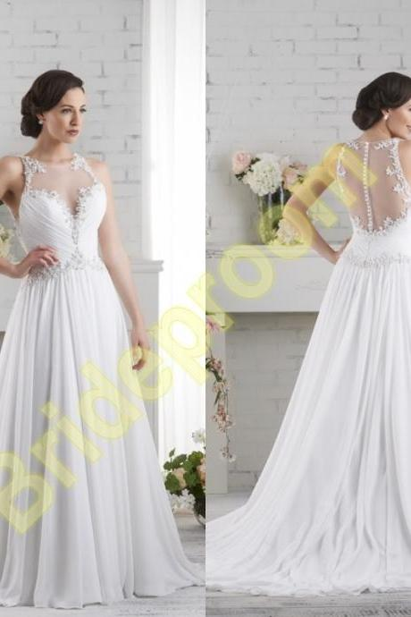 Wedding Dress,Sheer Back Bridal Gowns,Lace Wedding Gowns