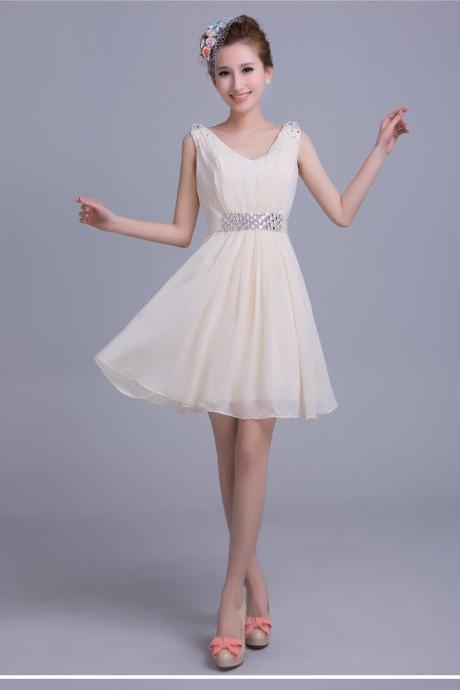 Champagne Short Chiffon Bridesmaid Dress 2017